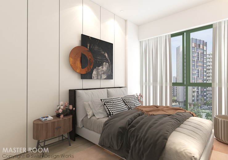 Master bedroom Modern style bedroom by Swish Design Works Modern Plywood