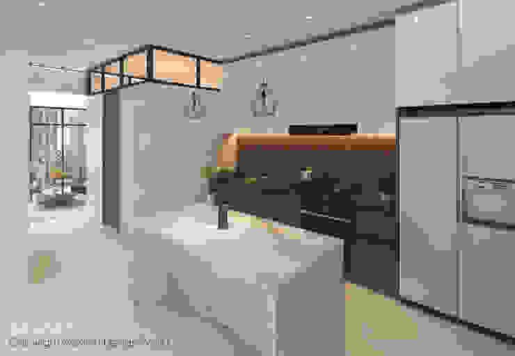 Kitchen island by Swish Design Works Modern Marble
