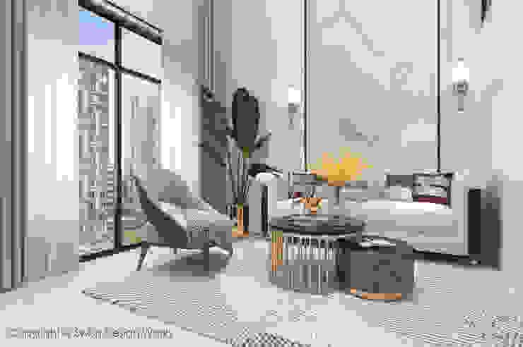Living area Swish Design Works Modern living room Marble White