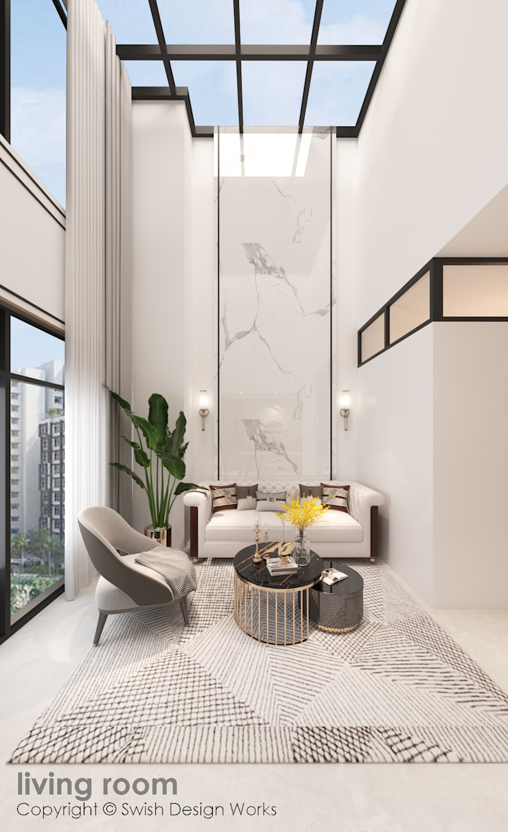 Living room feature wall Swish Design Works Modern living room Marble White