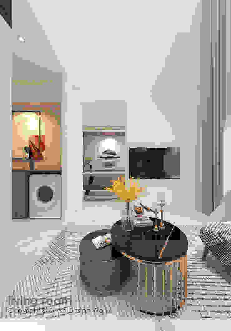 Living room TV Swish Design Works Modern living room White