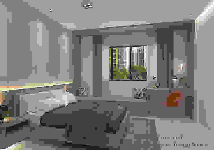 Master bedroom window seats Swish Design Works Small bedroom Plywood Grey
