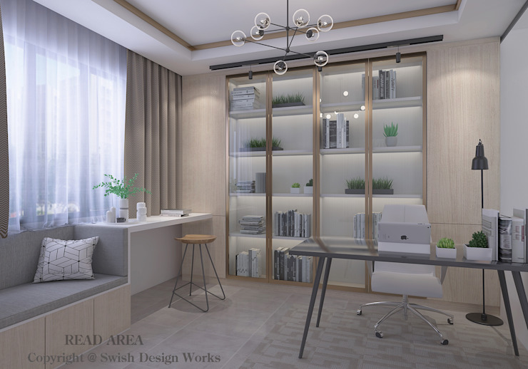 Study room Swish Design Works Modern study/office Plywood Wood effect