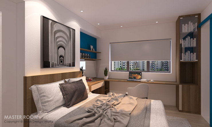 Master bedroom Swish Design Works Modern style bedroom Plywood Wood effect