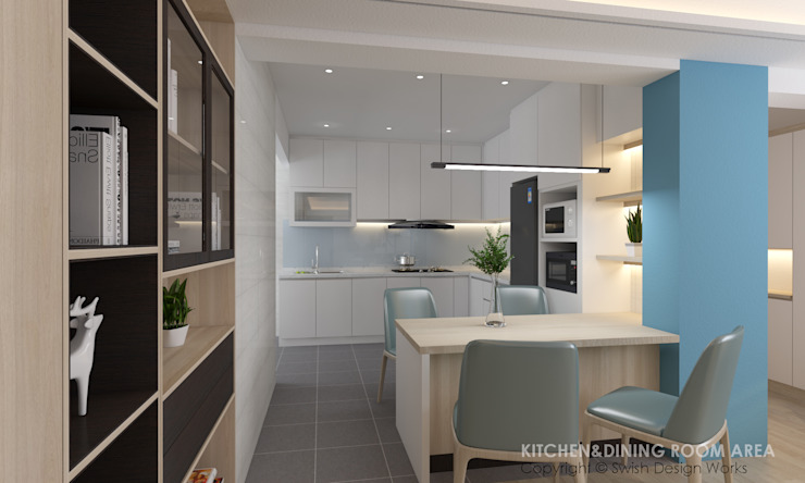 Dining and kitchen area Modern dining room by Swish Design Works Modern Plywood