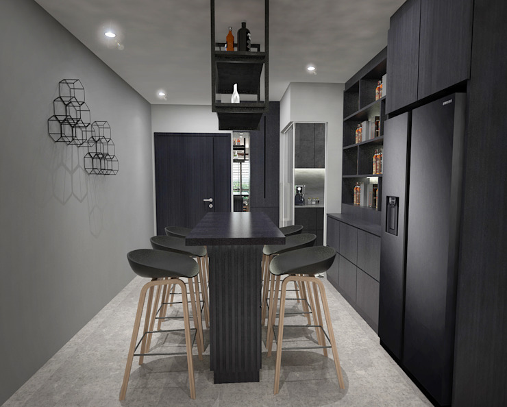 Dining area Industrial style dining room by Swish Design Works Industrial Plywood