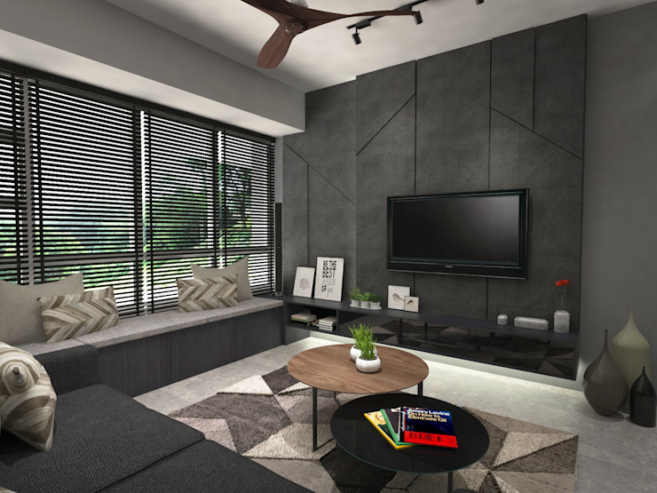 Living room feature wall Industrial style living room by Swish Design Works Industrial Plywood