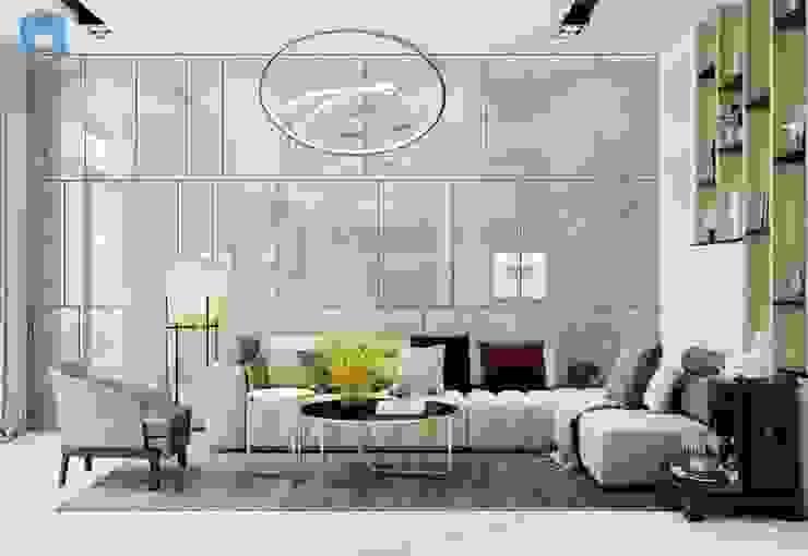 Phòng khách hiện đại với những đường nét tinh tế bởi Công ty TNHH Nội Thất Mạnh Hệ Hiện đại Gỗ Wood effect