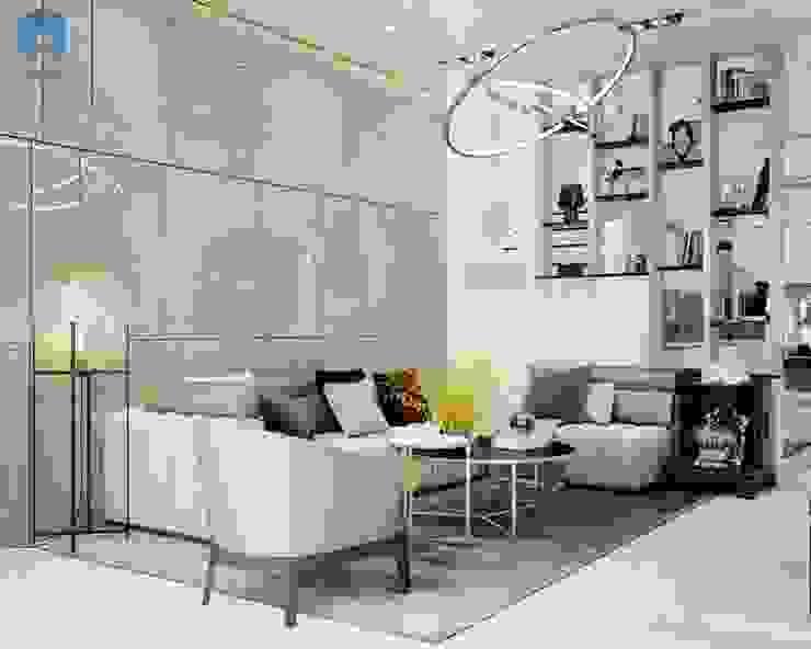 Phòng khách được thiết kế bằng các gam màu trung tính bởi Công ty TNHH Nội Thất Mạnh Hệ Hiện đại Gỗ thiết kế Transparent