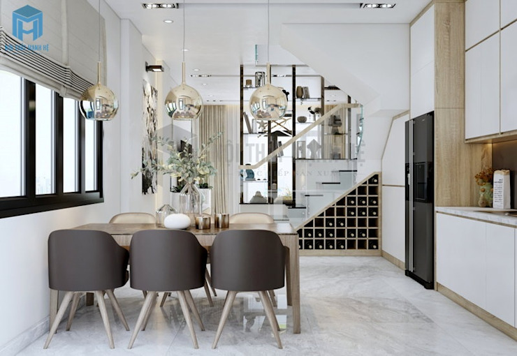 Thiết kế nội thất phòng bếp thông minh đảm bảo đầy đủ sự tiện nghi Phòng ăn phong cách hiện đại bởi Công ty TNHH Nội Thất Mạnh Hệ Hiện đại Cao su