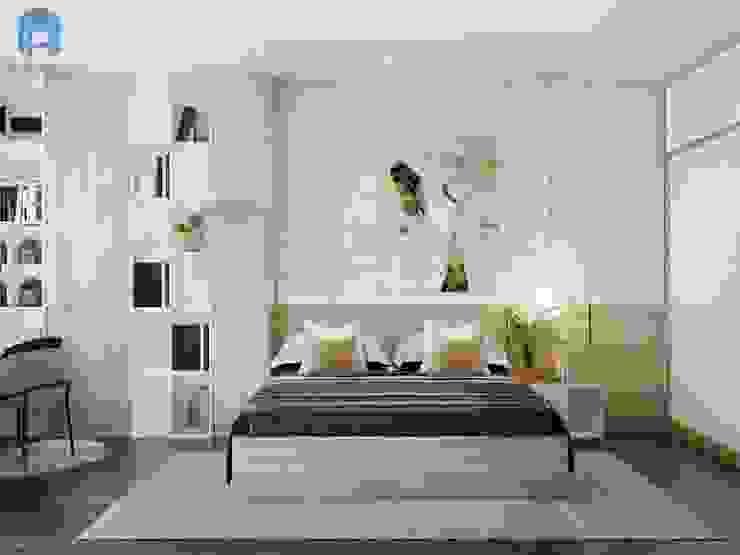 Thiết kế phòng ngủ ấm áp, hiện đại, gam màu trung tính đem lại cảm xúc tích cực cho gia chủ bởi Công ty TNHH Nội Thất Mạnh Hệ Hiện đại Đá sa thạch