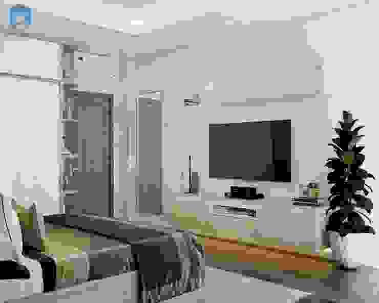 Phòng ngủ được trang trí nhẹ nhàng, tinh tế bởi Công ty TNHH Nội Thất Mạnh Hệ Hiện đại Đá hoa cương