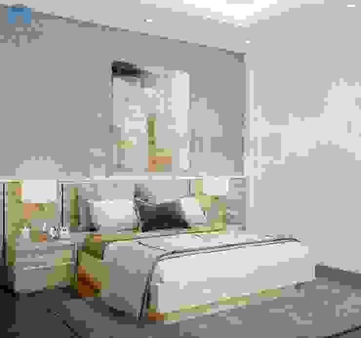 Sử dụng giấy dán tường màu xám có hoa văn độc đáo, tranh treo tường làm điểm nhấn bởi Công ty TNHH Nội Thất Mạnh Hệ Hiện đại Bê tông