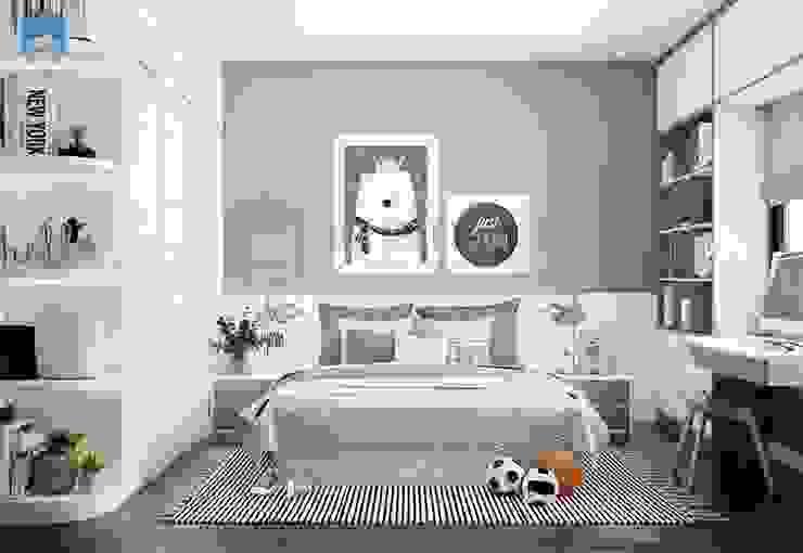 Nếu như phòng ngủ master và phòng ngủ cha mẹ mang màu sắc trầm lắng nhẹ nhàng thì phòng ngủ của bé có nét gì đó tinh nghịch pha chút dễ thương. bởi Công ty TNHH Nội Thất Mạnh Hệ Hiện đại Đá hoa cương