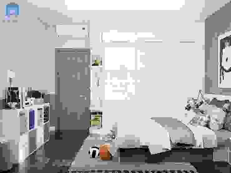 Tủ đựng đồ cửa lùa màu trắng phủ Acrylic bóng gương làm không gian như được mở rộng thêm bởi Công ty TNHH Nội Thất Mạnh Hệ Hiện đại Cao su