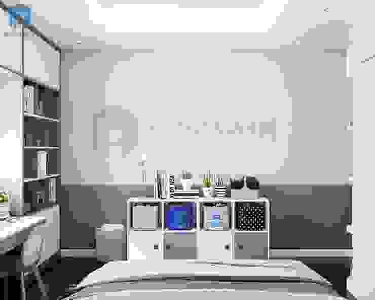 Kệ tủ nhỏ nhắn trang trí các chậu cây dễ thương Phòng ngủ phong cách hiện đại bởi Công ty TNHH Nội Thất Mạnh Hệ Hiện đại Cục đá
