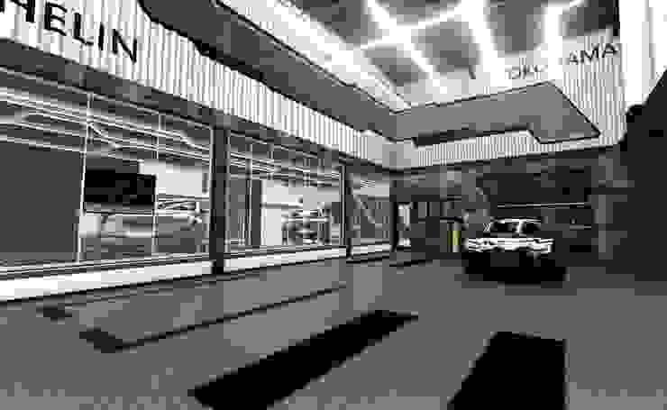 修車區 根據 亚卡默设计 Akuma Design 現代風 水泥