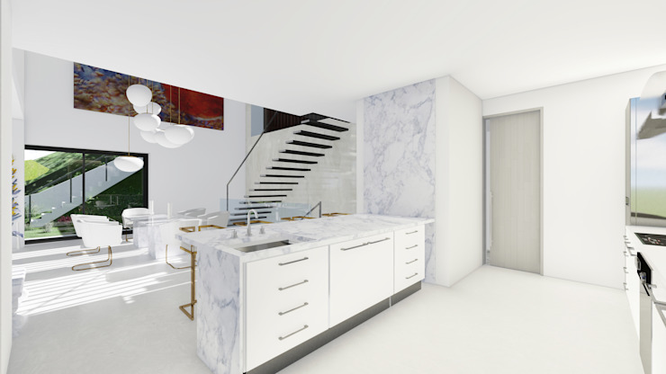 Barreres del Mundo Architects. Arquitectos e interioristas en Valencia. Built-in kitchens Marble White