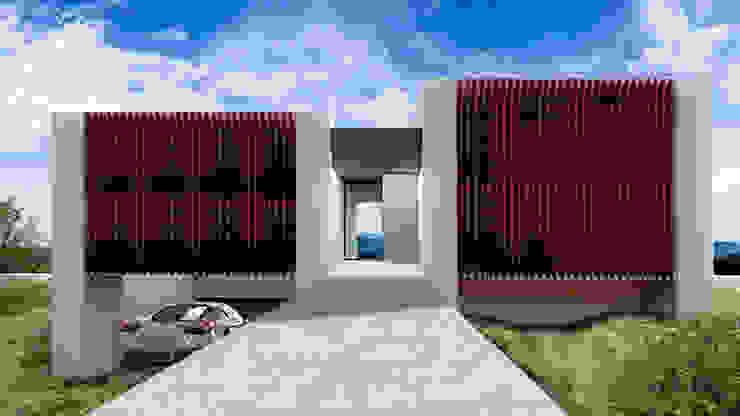 Acceso principal. Villa 17 en La Sella. Casas de estilo moderno de Barreres del Mundo Architects. Arquitectos e interioristas en Valencia. Moderno