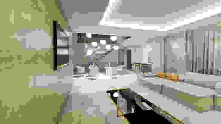 Salón y comedor. Villa 17 en La Sella. Salones de estilo moderno de Barreres del Mundo Architects. Arquitectos e interioristas en Valencia. Moderno