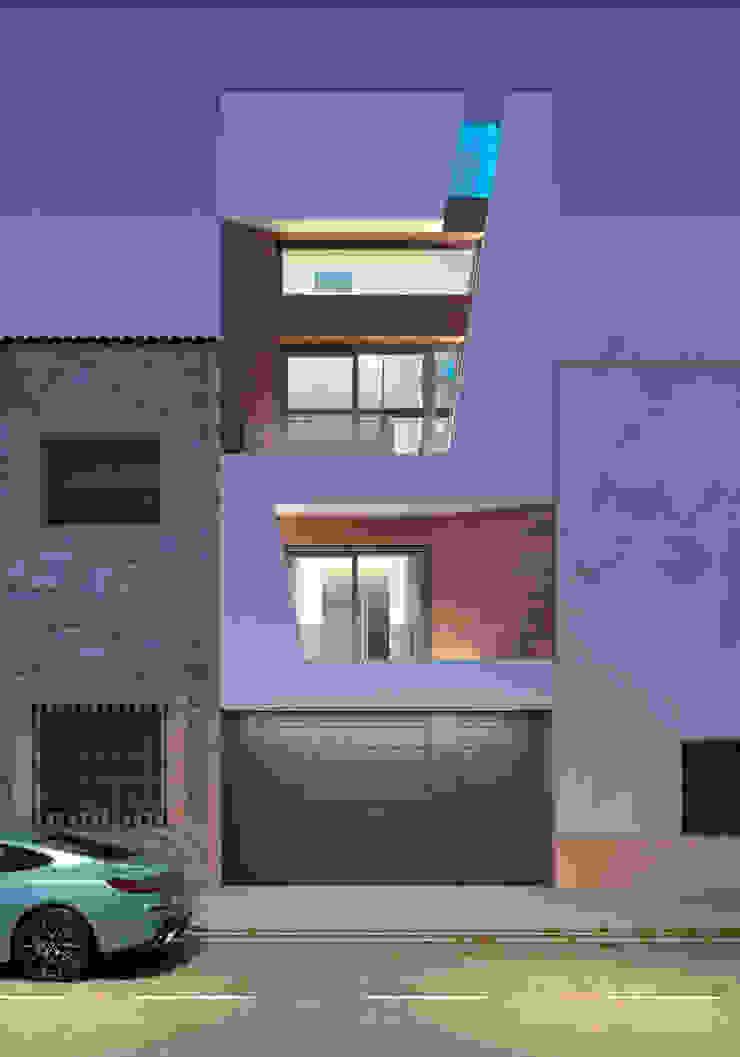 Fachada nocturna iluminada. Valencia de Barreres del Mundo Architects. Arquitectos e interioristas en Valencia. Moderno