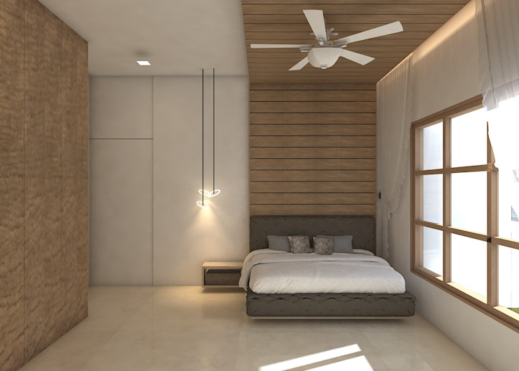 BEDROOM: tropical  by AXLE INTERIOR,Tropical Plywood