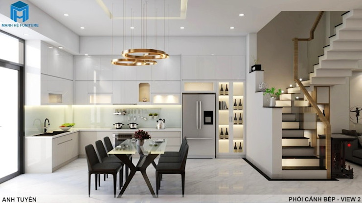Thiết kế nội thất trọn gói nhà phố 3 thế hệ – 3 phòng ngủ (Anh Tuyền – Q.12) Nhà bếp phong cách hiện đại bởi Công ty TNHH Nội Thất Mạnh Hệ Hiện đại