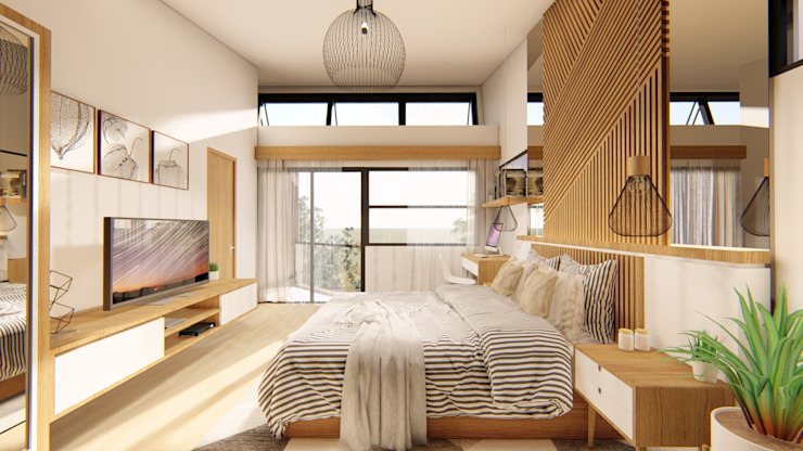 Master Bedroom Tropical style bedroom by Structura Architects Tropical Wood Wood effect