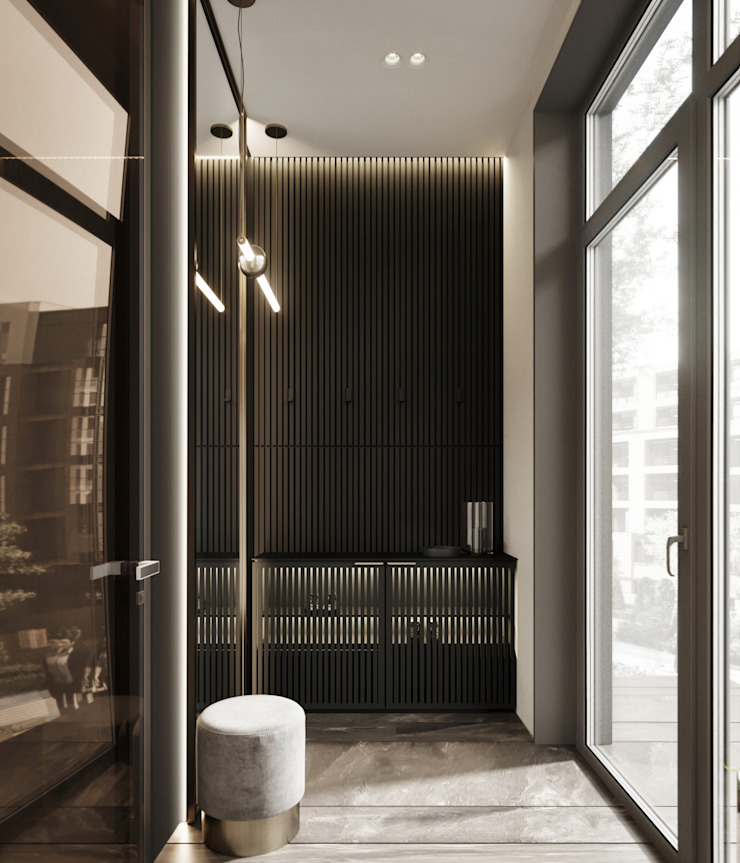 Y.F.architects Minimalist corridor, hallway & stairs