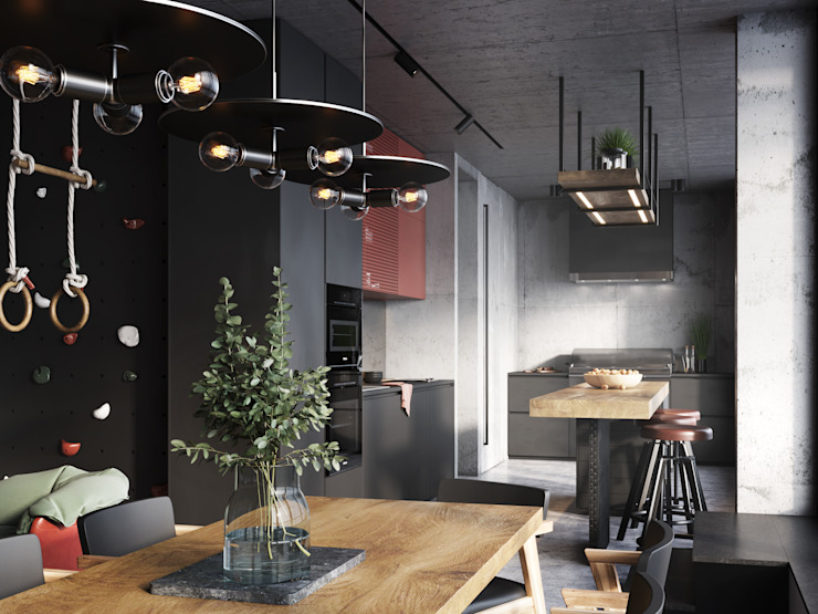 Y.F.architects Industrial style kitchen