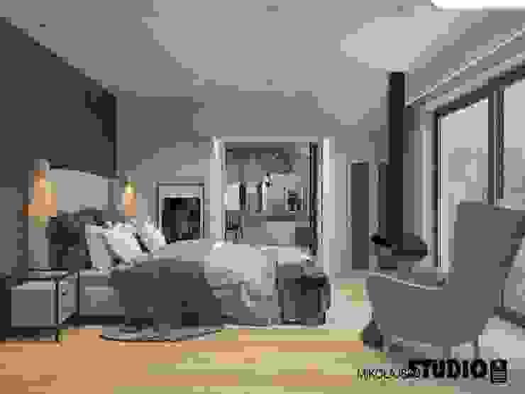 przestronna sypialnia Eklektyczna sypialnia od MIKOŁAJSKAstudio Eklektyczny