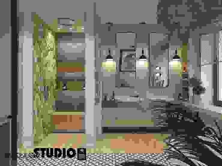 Ogromna łazienka Eklektyczna łazienka od MIKOŁAJSKAstudio Eklektyczny