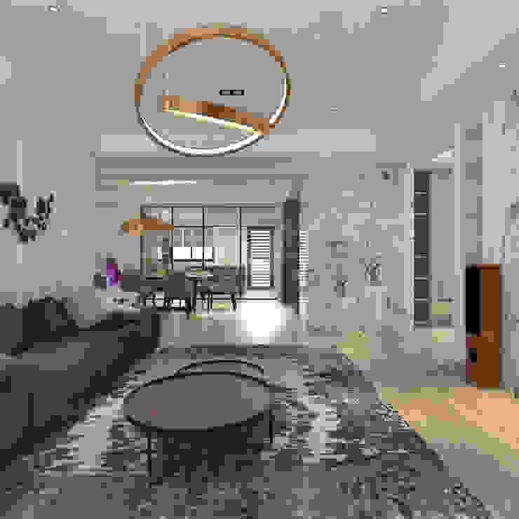 輕奢美式風格 现代客厅設計點子、靈感 & 圖片 根據 歐居室內設計有限公司 現代風