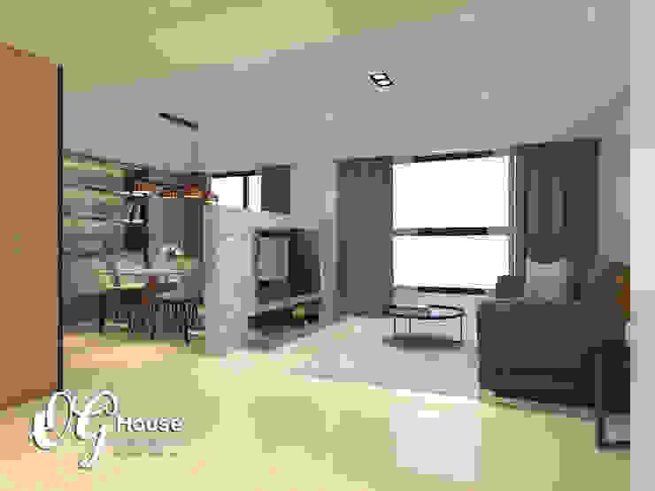 現代清中式風格 现代客厅設計點子、靈感 & 圖片 根據 歐居室內設計有限公司 現代風