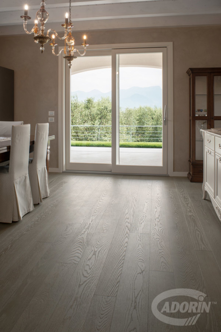 Cadorin Group Srl - Italian craftsmanship production Wood flooring and Coverings Modern Dining Room Wood Grey
