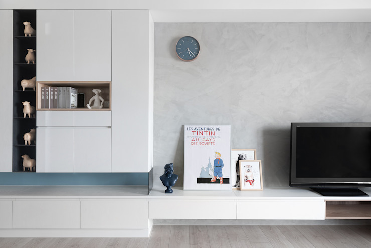 馨之所向 现代客厅設計點子、靈感 & 圖片 根據 知域設計 現代風