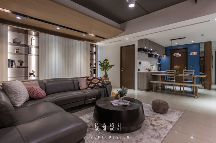 Project | 紳藍 现代客厅設計點子、靈感 & 圖片 根據 緹奇設計 現代風 實木 Multicolored
