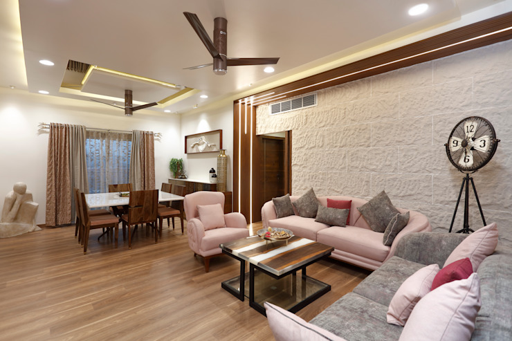 Living & Dining Area Modern living room by Vishakha Chawla Interiors Modern