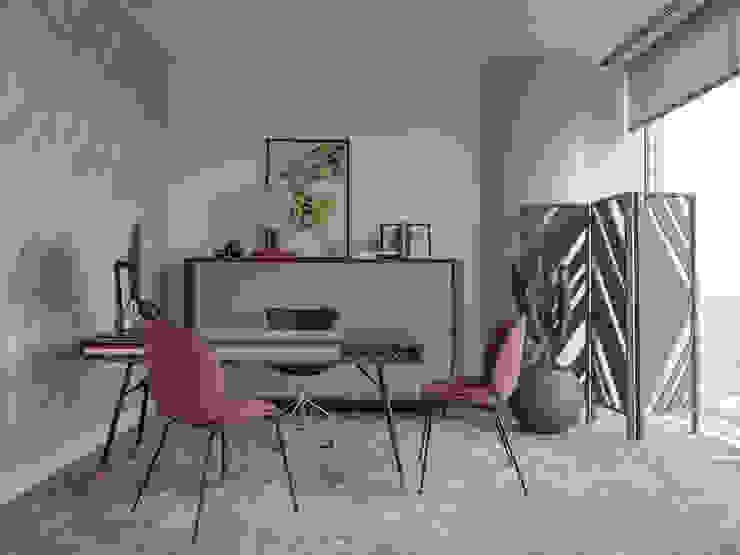 Studio in un grattacielo Olga Koshcheeva Studio eclettico Legno massello Grigio