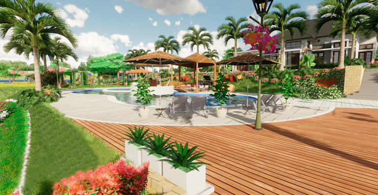 ROQA.7 ARQUITECTURA Y PAISAJE Tropical style balcony, porch & terrace