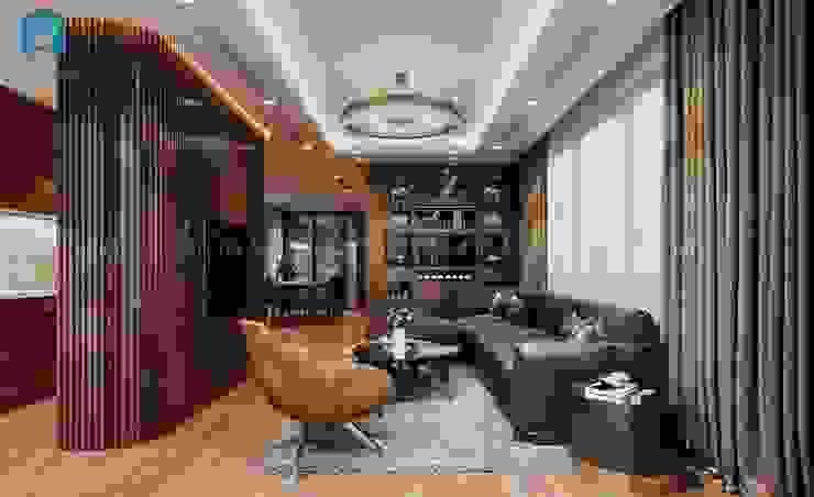 Nội thất phòng khách ấm cúng, hiện đại bởi Công ty TNHH Nội Thất Mạnh Hệ Hiện đại Gỗ thiết kế Transparent