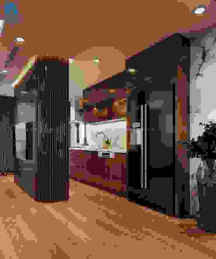 Không gian nấu ăn tiện nghi hiện đại bởi Công ty TNHH Nội Thất Mạnh Hệ Hiện đại Gỗ thiết kế Transparent