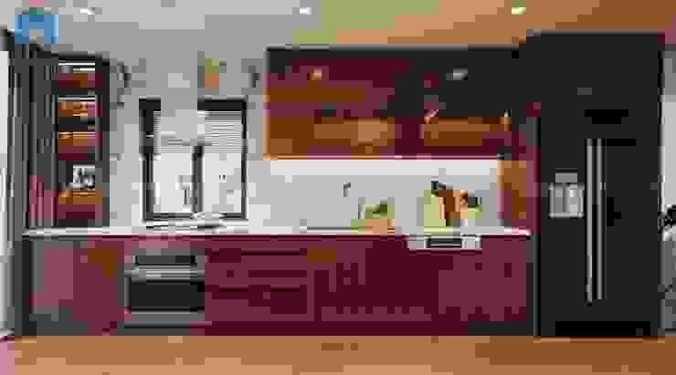 Tủ bếp gỗ công nghiệp sang trọng Nhà bếp phong cách hiện đại bởi Công ty TNHH Nội Thất Mạnh Hệ Hiện đại Gỗ thiết kế Transparent
