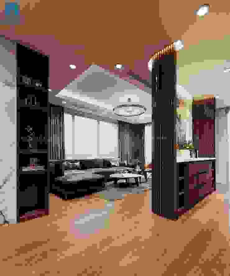View nhìn từ phòng bếp ra phòng khách thoáng đãng bởi Công ty TNHH Nội Thất Mạnh Hệ Hiện đại Gỗ thiết kế Transparent