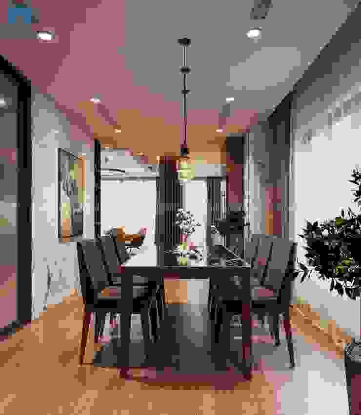 Bố cục phòng ăn hài hòa bắt mắt Phòng ăn phong cách hiện đại bởi Công ty TNHH Nội Thất Mạnh Hệ Hiện đại Gỗ thiết kế Transparent