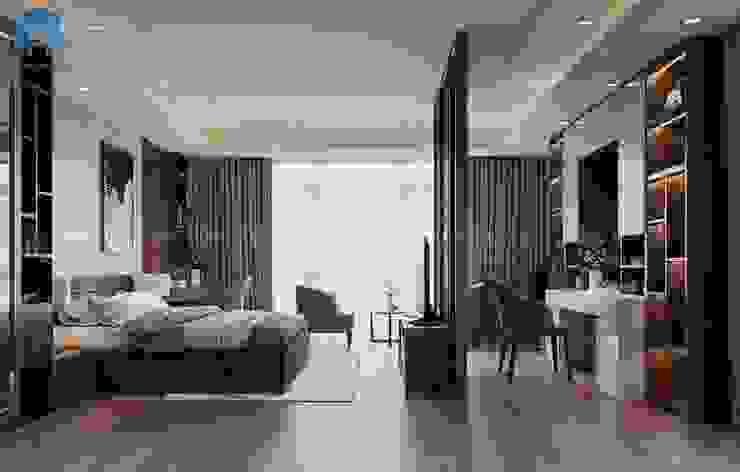 Căn phòng ngủ bình yên, ấm áp, mộc mạc pha chút hiện đại Phòng ngủ phong cách hiện đại bởi Công ty TNHH Nội Thất Mạnh Hệ Hiện đại Gạch ốp lát