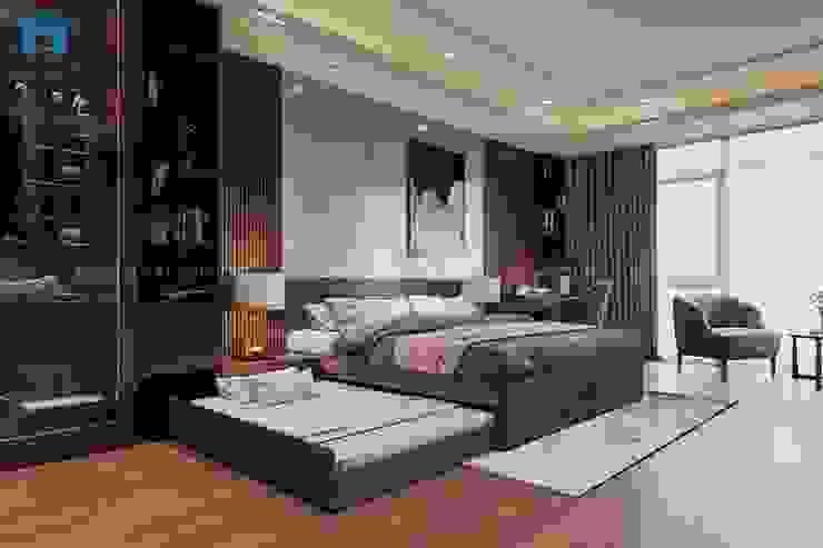 Mỗi hạng mục trong phòng ngủ được lựa chọn kỹ lưỡng từ ánh sáng, màu sắc đến các chi tiết nhỏ nhất Phòng ngủ phong cách hiện đại bởi Công ty TNHH Nội Thất Mạnh Hệ Hiện đại Gỗ Wood effect