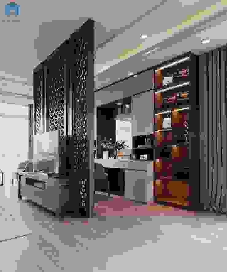 Vách ngăn công nghệ cao bằng gỗ hiện đại có họa tiết độc đáo Phòng ngủ phong cách hiện đại bởi Công ty TNHH Nội Thất Mạnh Hệ Hiện đại Gỗ thiết kế Transparent