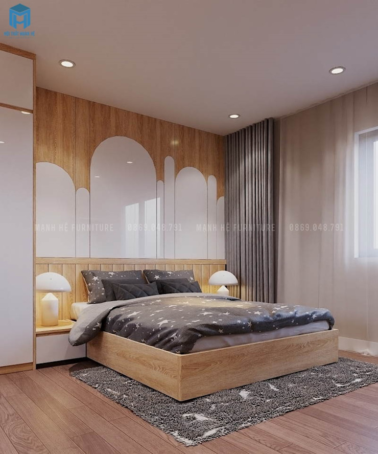 Tạo một bức tường đầu giường tuyệt đẹp bằng sự phối hợp giữa các chất liệu, đường nét và màu sắc bởi Công ty TNHH Nội Thất Mạnh Hệ Hiện đại Gỗ thiết kế Transparent