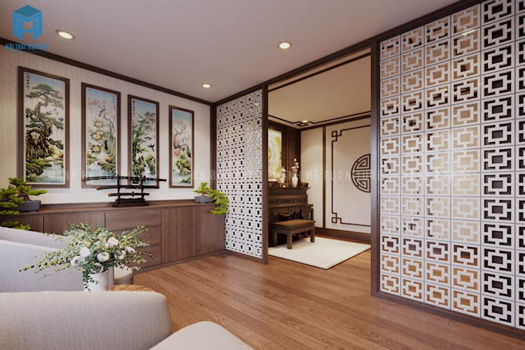 Phòng thiền bên cạnh phòng thờ mang lại cảm giác thư giãn và tịnh tâm bởi Công ty TNHH Nội Thất Mạnh Hệ Hiện đại Gỗ Wood effect